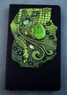 Art Journal Notebook Dragon Skin Polymer Clay and Jasper