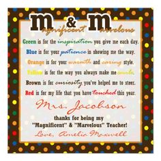 Teacher Appreciation Gift M&M Poem gift tag Custom Invitation
