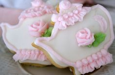 Enchantingly pretty little pink and white,,  Teapot Cookies
