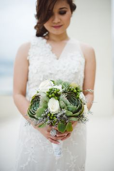 succulent beach bouquet by Rainbowfish Photography