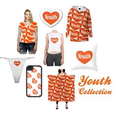 Vector style heart-shaped with text design in orange and white colors fashionset homedecor and accessories collection exclusive for young people.  heart-shaped youth text, #outfit for youngs, accessory for youngs, homedecor for youngs, #orangeandwhite outfit, orange and white accessories, orange and white homedecor,#coralandwhite outfit