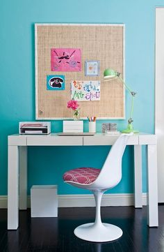 Turquoise Chair - Contemporary - girls room - Cox Paint Diamonds Are Not Forever - JAC Interiors teen bedrooms, pin boards, cork boards, kid photos, girl bedrooms, desk areas, teen girls, bedroom designs, girl rooms
