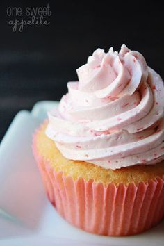 Strawberry Swiss Meringue Buttercream-I want to try this on a vanilla cupcake