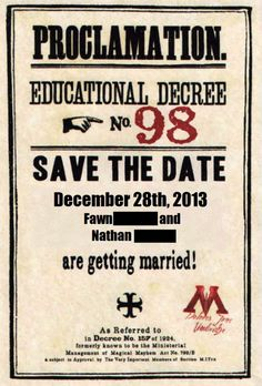 So many save the date options...this might have just jumped to the top of the list! Harry Potter save the date