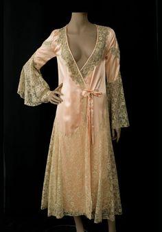 Lace trimmed satin peignoir, c.1930, from the Vintage Textile archives.