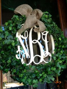 Beautiful Custom Classic Spring Summer Year around Initial Monogram Faux Boxwood Wreath with Burlap Bow   on Etsy, $95.00