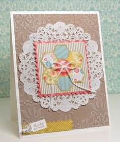 pretty hexagon flower quilt block on lace...