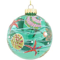 Seashell Design Glass Ornament.