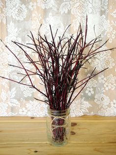 WOODLAND Red Willow Wedding Table Bouquet - RUSTIC Twiggy Decor. $7.00, via Etsy.