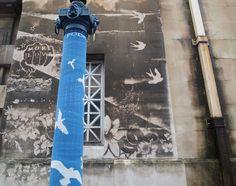 reverse graffiti + yarnbombing - Bristol, UK. Love this - wonder where it is in Bristol?