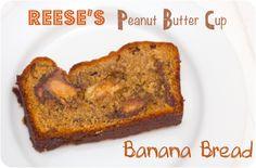 Reese's Peanut Butter Cup Banana Bread via Cupcake Crazy Gem!