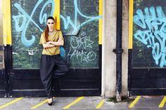 Sanna Naapuri Autumn/Winter Look 4: Keffiyeh Print Silk T-Shirt & Wool Trousers.