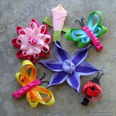 ribbon hair clips