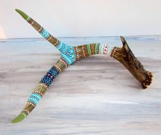 Painted ANTLER Art - NATURE Art Sculpture - Rustic HOME Decor - Western Woodland Cabin Lodge - Deer Antler
