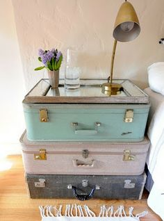 Inspiring night stand- paint some old suitcases & add a mirror. So easy, and it has storage!