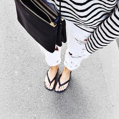 stripes and distressed jeans