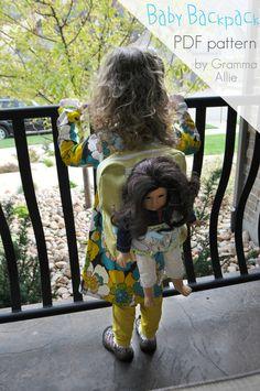 backpacks, patterns, christmas presents, babi doll, pattern pdf, baby dolls, backpack pattern, doll backpack, babi backpack