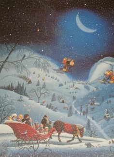 RARE Ravensburger Special Edition 1000 piece jigsaw puzzle features an image called Moonlight Serenade by artist Catherine Perdreau. It's a nice winter sleigh ride picture that is fun to work at Christmas or in the winter. #ravensburger #catherineperdreau #winter