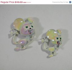 50% OFF Sale / 8-15-8-20 Vintage 1970s Mouse Pins - Set of 2 White Iridescent Brooches. $8.00, via Etsy.