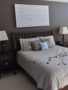 Beautiful bedroom - loving the idea of printing your wedding vows on canvas and displaying it over your bed.