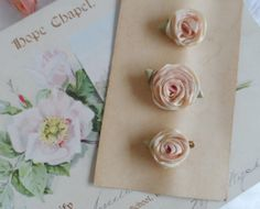1920's Flapper Ribbonwork Silk Ribbon Lingerie Rose Bud Pins Original Card in Original Box Sweet Silk Ribbon Work Pins Christmas Gift
