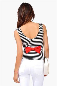 Gondola Peplum Top - Black/White