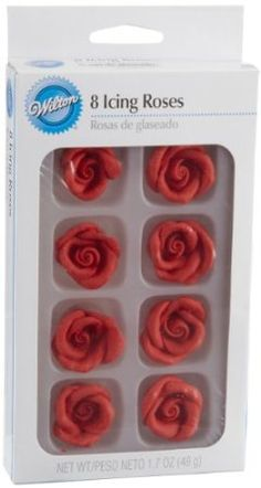 Amazon.com: Wilton 8-Pack Pre-made Royal Icing Rose, Red: Kitchen & Dining