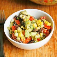 Creamy Black Bean, Red Pepper and Corn Salad with Avocado and Cilantro