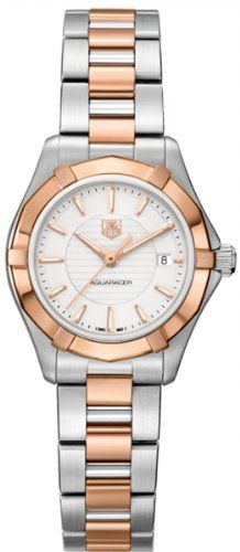 Save $1,025.00 on Tag Heuer Aquaracer White Dial 18kt Rose Gold Stainless Steel Ladies Watch WAP1450BD0837; only $2,575.00