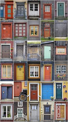 Doors and Windows at Røros in Norway, which is one of the few mining towns in the world listed on UNESCO World Heritage List. http://www.verdensarvenroros.no/ - From THE ESSENCE OF THE GOOD LIFE™     http://www.pinterest.com/ConceptDesigner/   https://www.facebook.com/pages/The-Essence-of-the-Good-Life/367136923392157