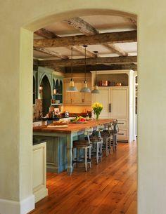kitchens, mediterranean homes, kitchen idea, kitchen photos, cabinet, french cottage, kitchen designs, wood beams, island