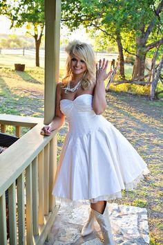 cowgirl boots, wedding dressses, cowboy boots, short wedding dresses, country wedding dresses, country weddings, reception dresses, short dresses, miranda lambert