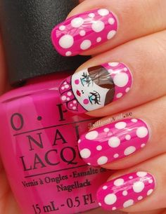 Polka Dots and Pink Doll Nail Art #pink