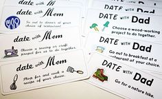 a year of dates for the kids with mom/dad.