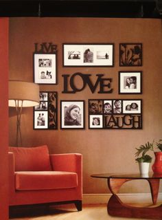Home decor ideas the wall color in my living , kitchen, dinning, sitting room.... and I love this picture Idea... also like using just frames as art... painted white... but these are black with black and white photos.... interesting idea