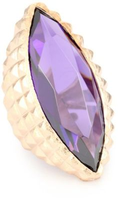 "nOir ""New Novelty"" Rose Gold and Purple Cocktail Ring"