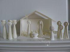 White quilled nativity.