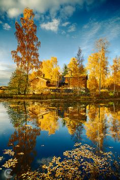 ~~Blue, Yellow... ~ reflective autumn on the lake, Lillehammer, Norway by Cinematic Photography~~