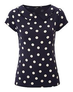 Spot Print Peter Pan Collar Top