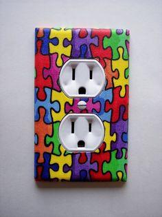 autism decor, autism awar, outlet plate, autism puzzl, puzzl piec, puzzle pieces, plate wall