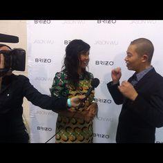 Nordstrom PR gal Pamela interviewing Jason Wu backstage. #nyfw