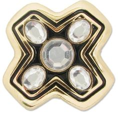 Lindsay Phillips #Switchflops Vivian Snap- X marks the spot! This gold snap has black enamel and round clear gemstones!