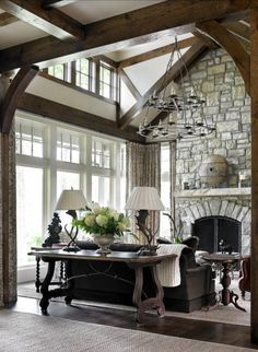 interior design, window, english cottages, beam, stone fireplaces, english cottage style