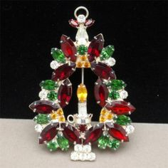 Christmas Tree Pin with Candle Vintage Rhinestones Xmas Brooch by Ron