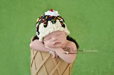 RESERVED for Sara  Ice Cream Sundae Vanilla Hat  by ModisteBee, $48.00
