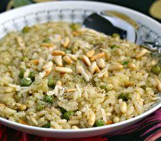 Pesto, peas and pine nuts risotto - minus peas, plus sun dried tomatoes