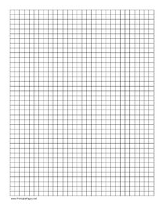 Graph paper with a 1 to 1 grid layout. Free to download and print