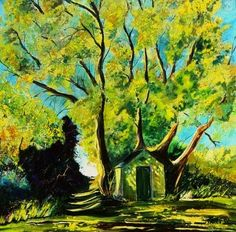 Old chapel in summer, painting by artist ledent pol