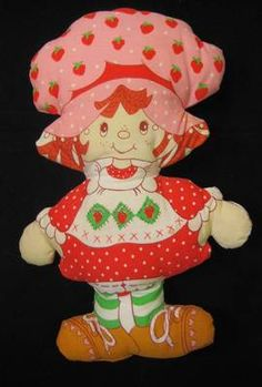 toy doll, vintag strawberri, 1980s toy, doll handmad, strawberry shortcake toys, doll 1980s, pillow doll, cloth pillow, strawberri shortcak