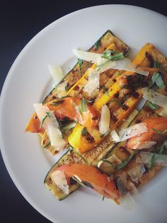 Grilled Summer Squash and Stone Fruit with Manchego and Truffle Oil www.atouchoflovely.com